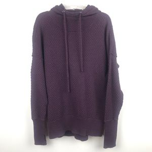 CYNTHIA ROWLEY Burgundy Hooded Oversized Pullover